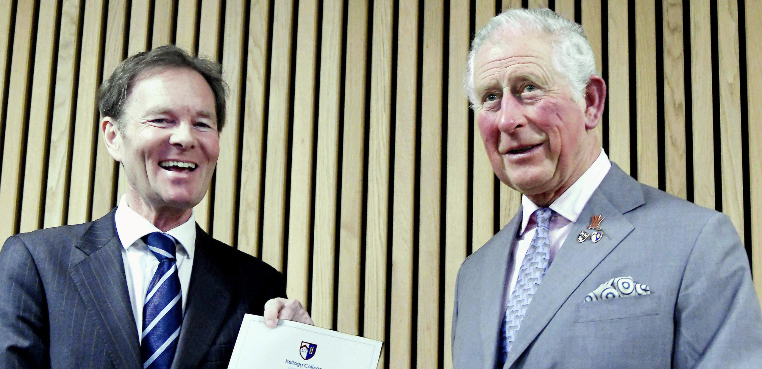 HRH The Prince of Wales is presented with Bynum Tudor Fellowship