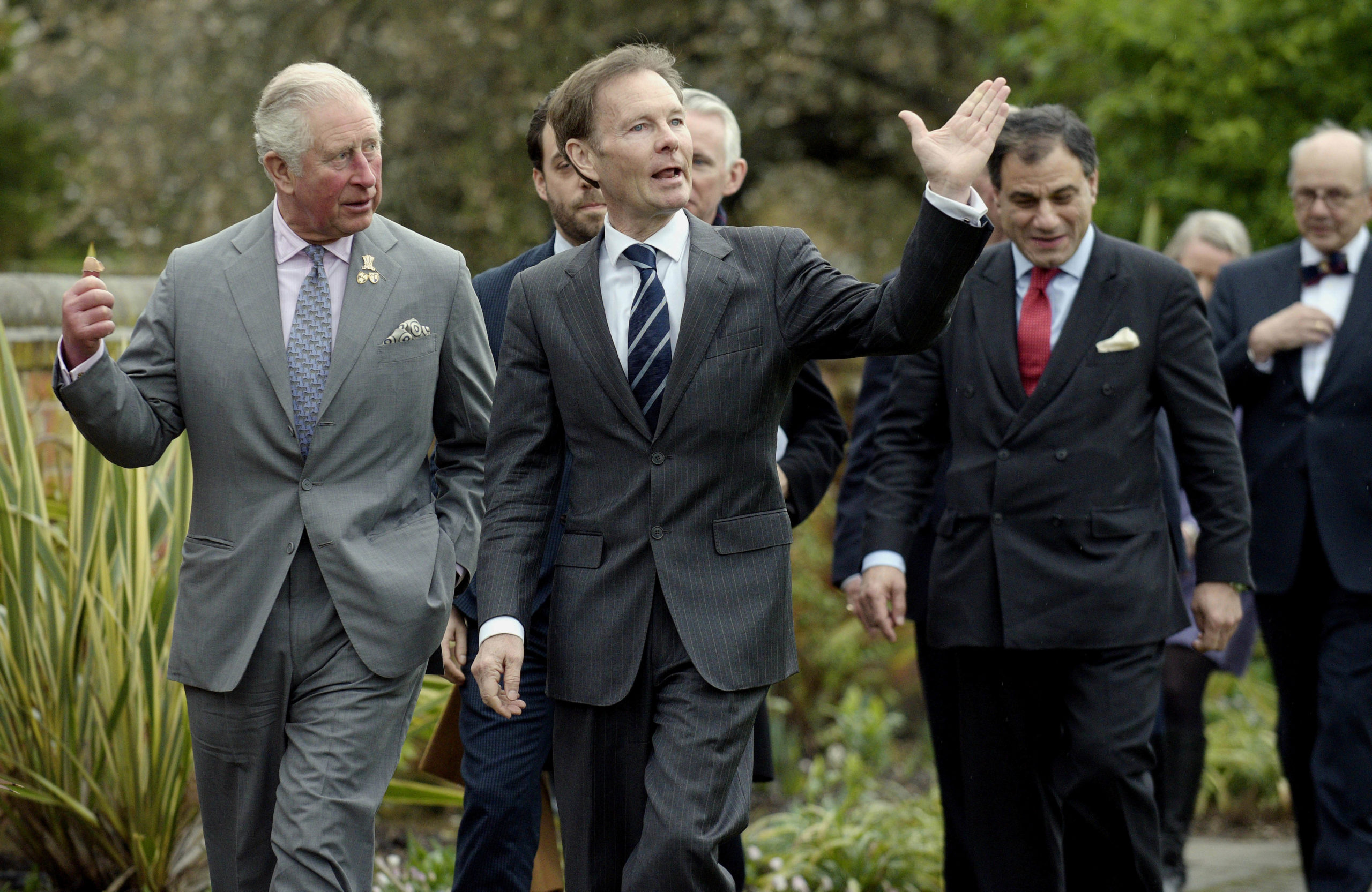 HRH The Prince of Wales views the College gardens