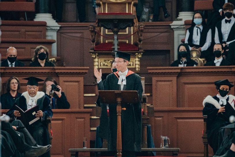 President of Kellogg, Professor Jonathan Michie addresses graduands in the Sheldonian Theatre